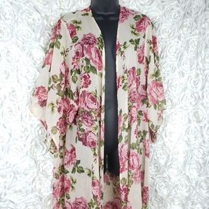 Xhilaration Floral Sheer Kimono Duster